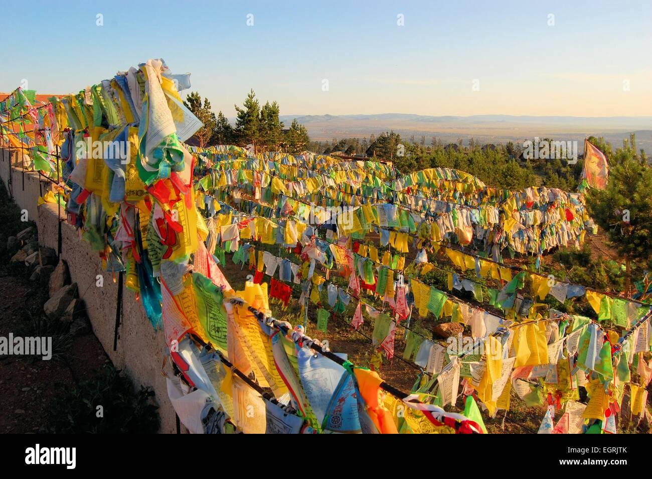 Bandiere di preghiera a Ivolginsky Datsan tempio, Ulan Ude, Russia Immagini Stock
