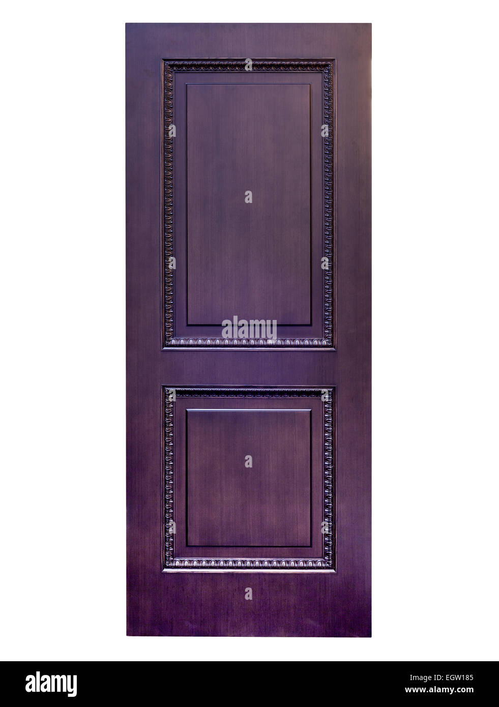 Ingresso porta di legno su uno sfondo bianco. Immagini Stock