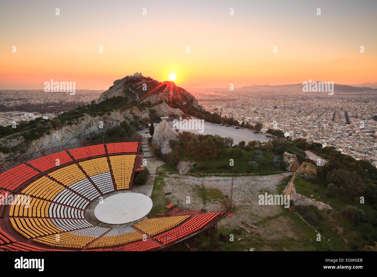 Open Air Theatre sul Colle Lycabettus Atene, Grecia. Immagini Stock