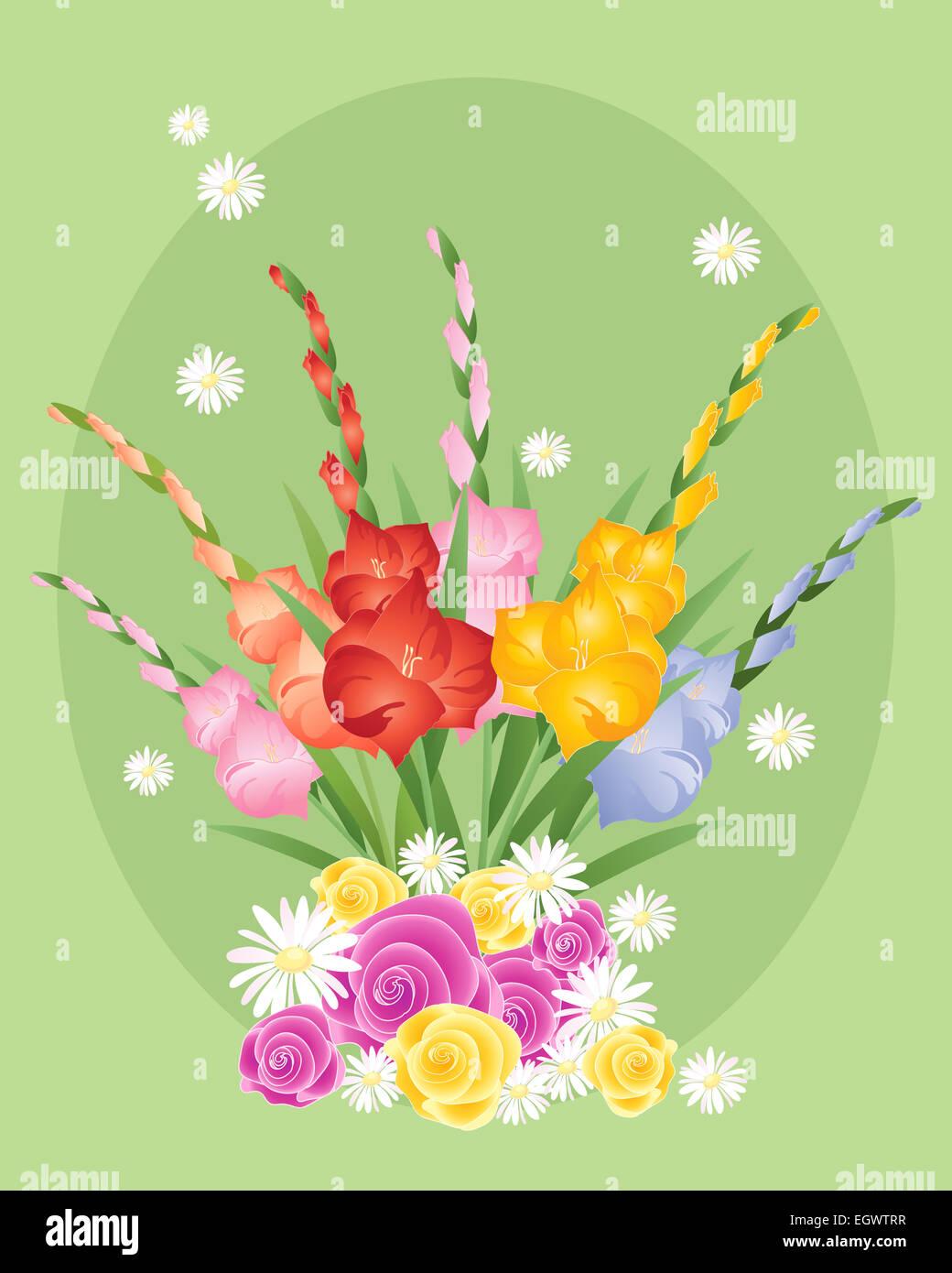 Una Illustrazione Di Un Floral Biglietto Di Auguri Per Compleanni O