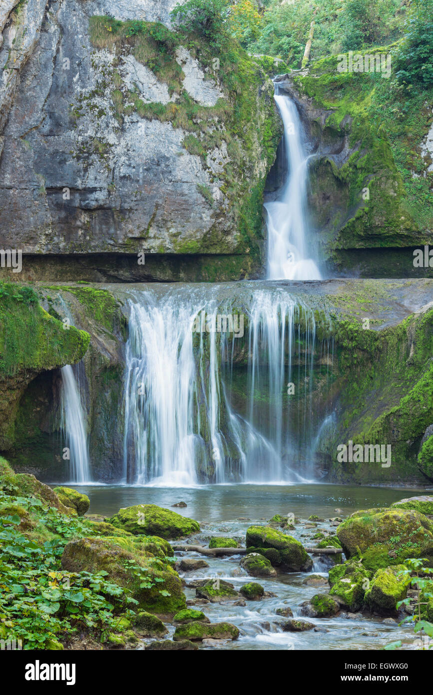 Cascata de la Billaude vicino Vaudioux nel Giura dipartimento di Francia Foto Stock