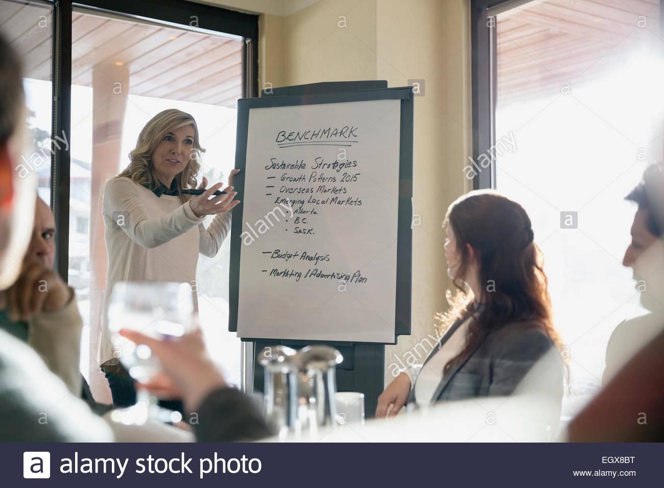 Imprenditrice che portano incontro alla lavagna a fogli mobili Immagini Stock