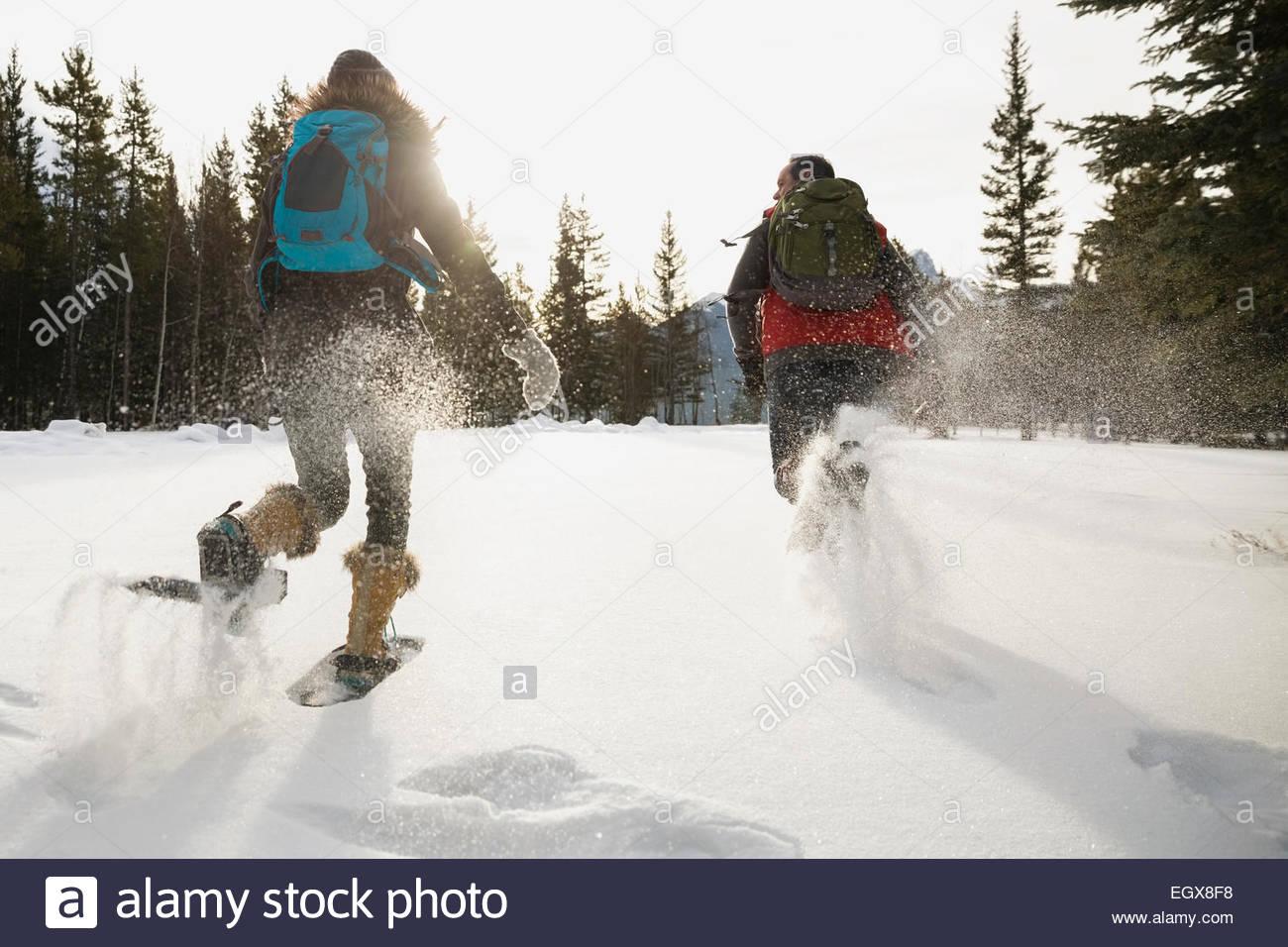 Amici in esecuzione in racchette da neve nel campo nevoso Immagini Stock