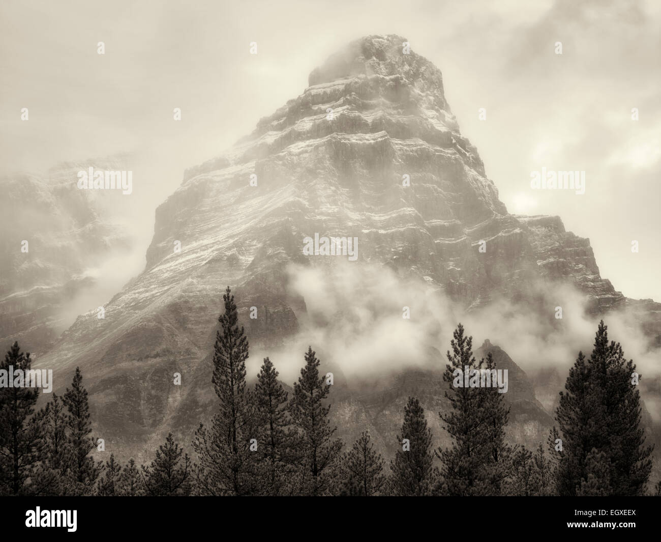 Mt. Chephren nella nebbia e pioggia/neve. Il Parco Nazionale di Banff, Alberta, Canada Immagini Stock