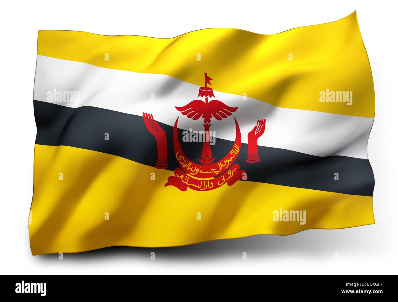 Sventola bandiera del Brunei isolati su sfondo bianco Immagini Stock