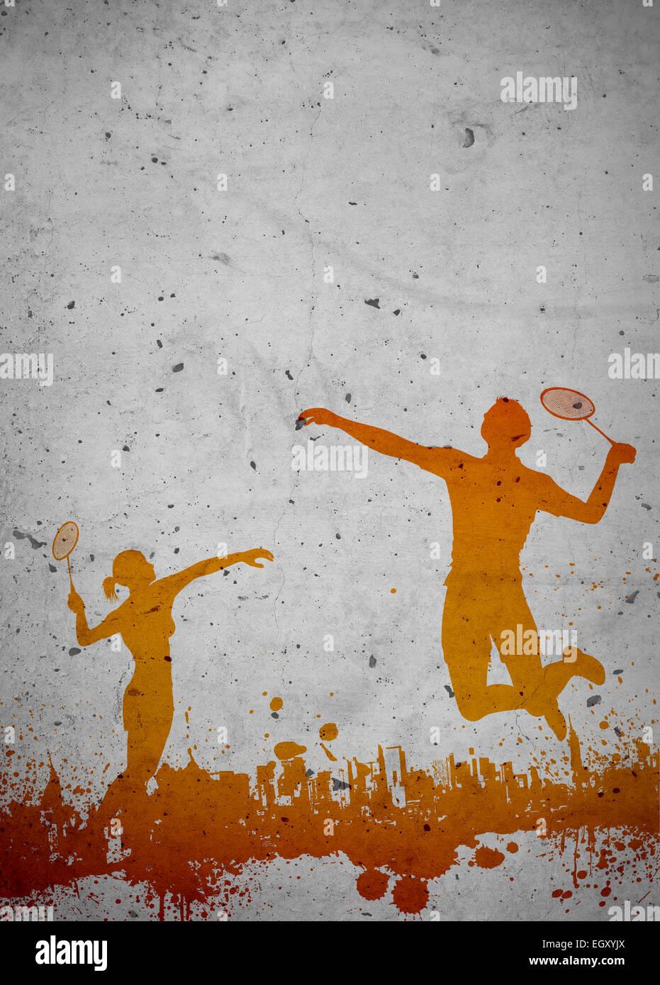 Badminton Sport Invito Poster E Volantini Sfondo Con Spazio Vuoto