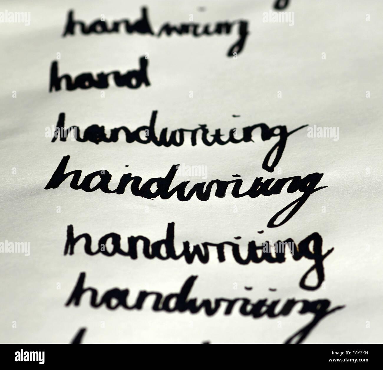 Scrittura di parole in corsivo dalla penna del cappello Immagini Stock
