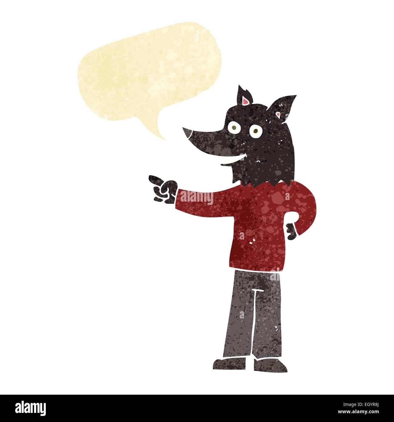 Cartoon uomo lupo puntando con discorso bolla illustrazione