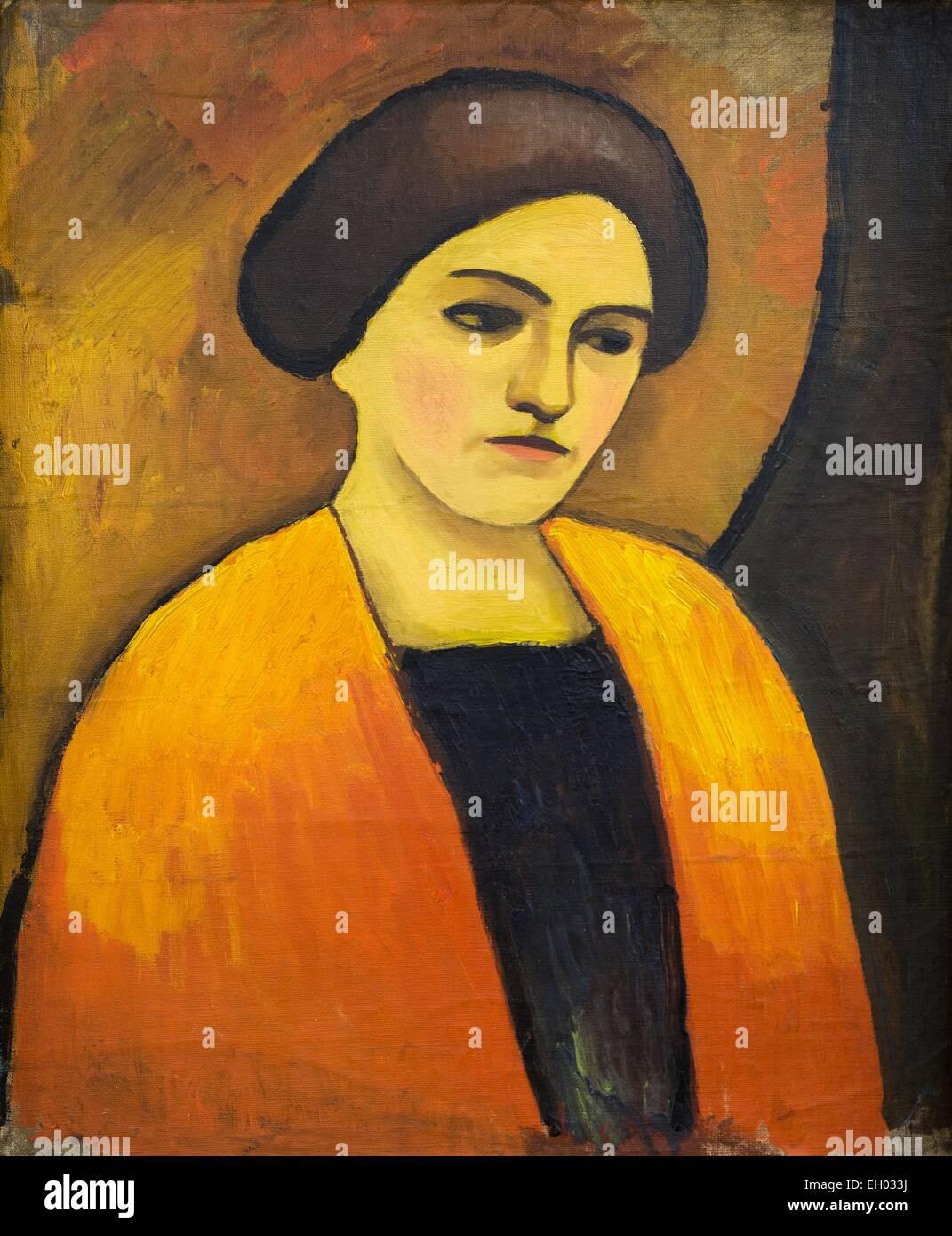 ActiveMuseum_0003172.jpg / Frauenkopf in arancione und Braun - testa di donna di colore arancione e marrone - Olio Immagini Stock