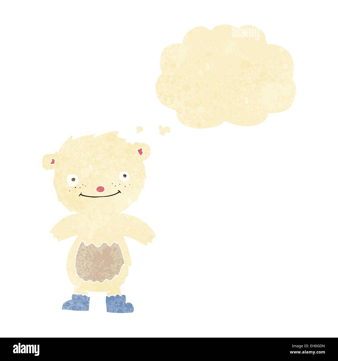 Retrò cartone animato carino piccolo orsacchiotto stock vector