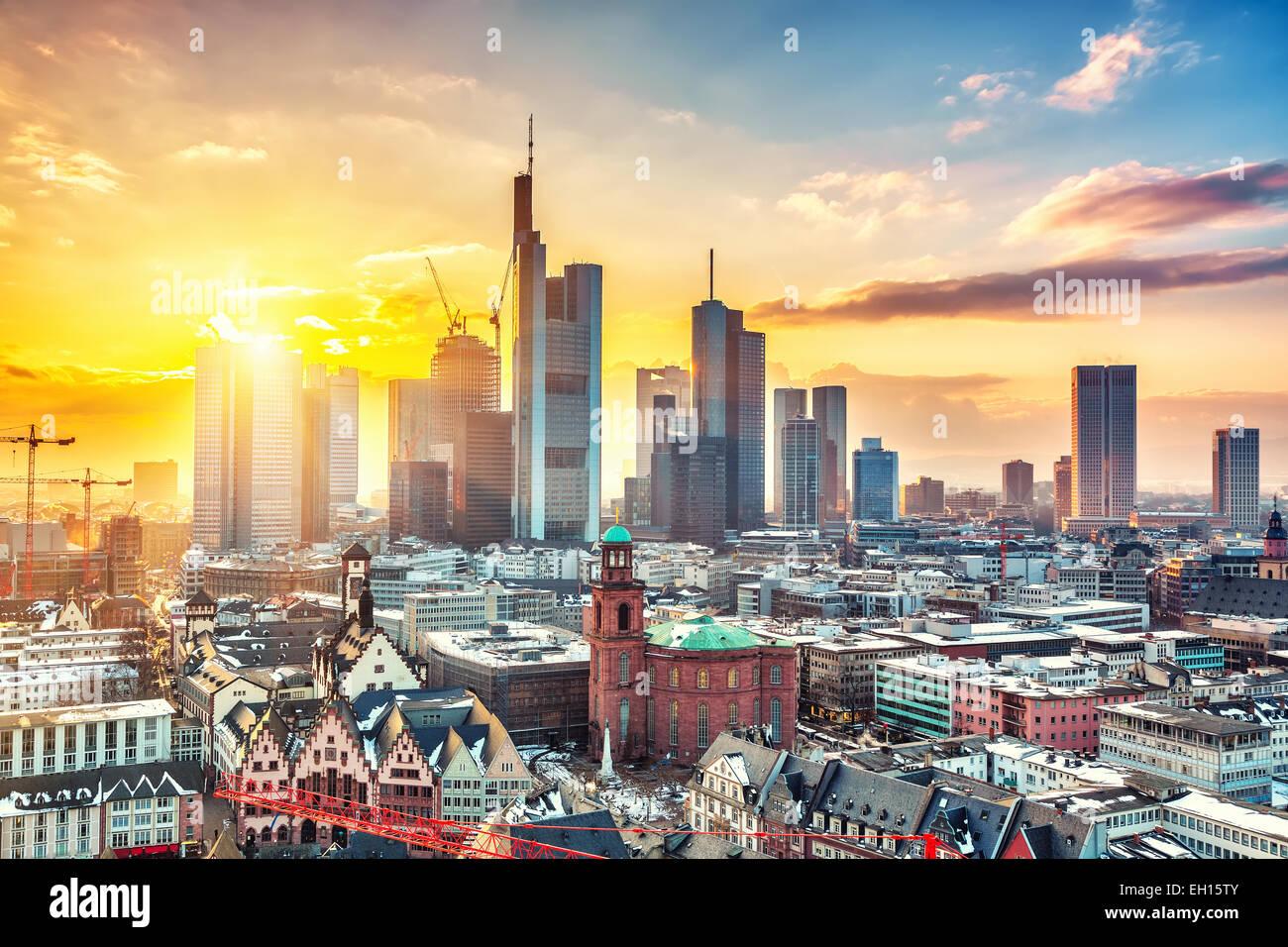 Francoforte sul Meno al tramonto Immagini Stock