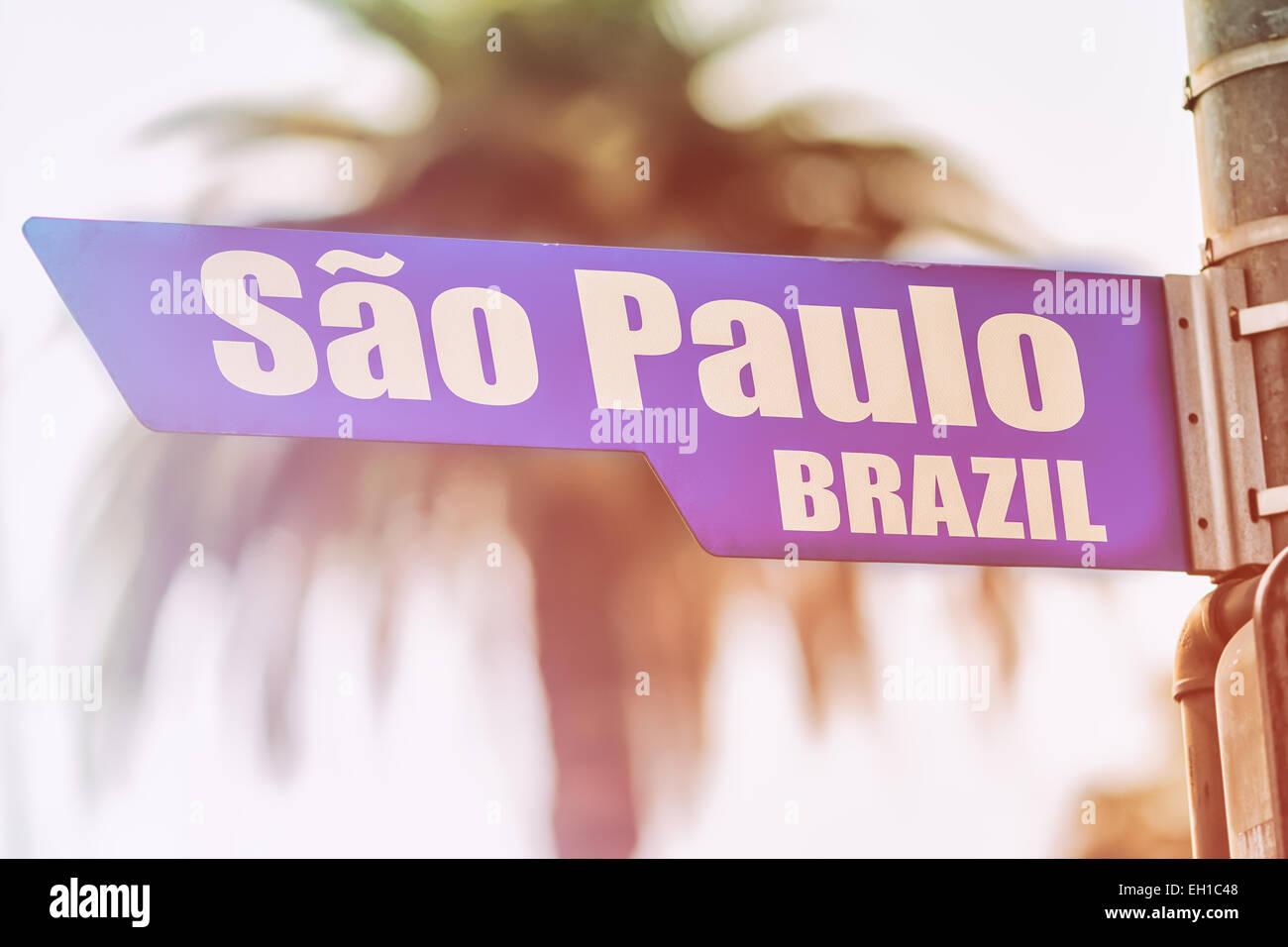 Sao Paulo in Brasile un cartello stradale Immagini Stock