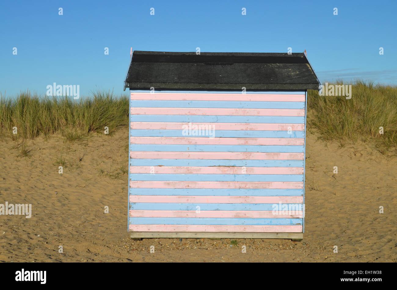 Capanna sulla spiaggia nei pressi di Great Yarmouth, Norfolk 2014 Immagini Stock