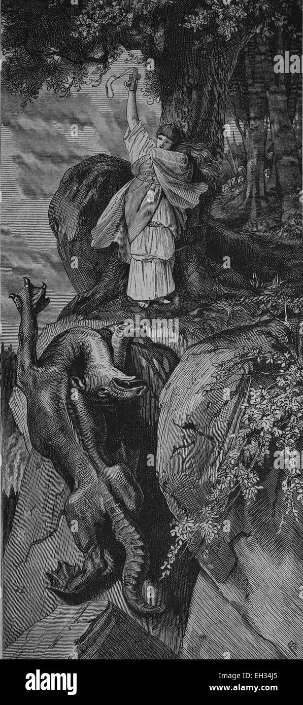 La leggenda di Drachenfels, Germania, xilografia 1888 Immagini Stock