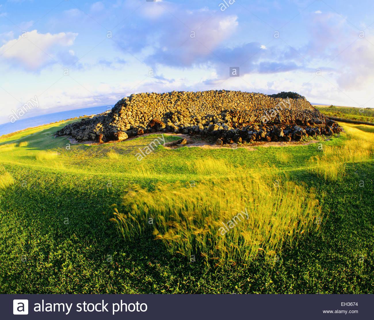 Mo'okini Heiau, un luakini heiau, o sacrificio umano tempio. La grande isola, Hawai. Immagini Stock
