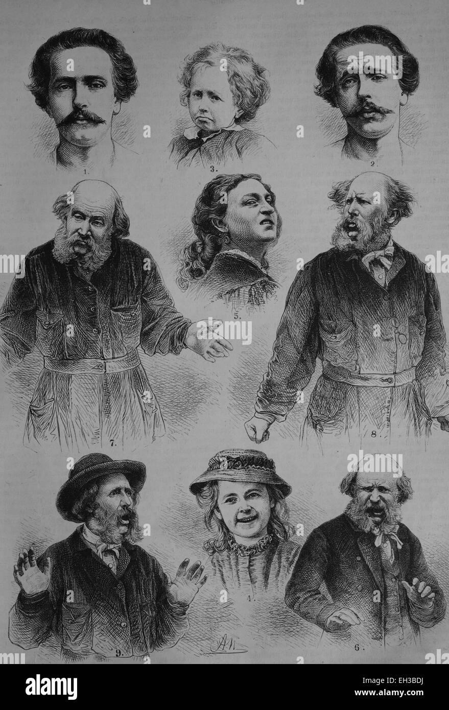Le espressioni facciali umane, emozioni, incisione su legno, circa 1880 Immagini Stock