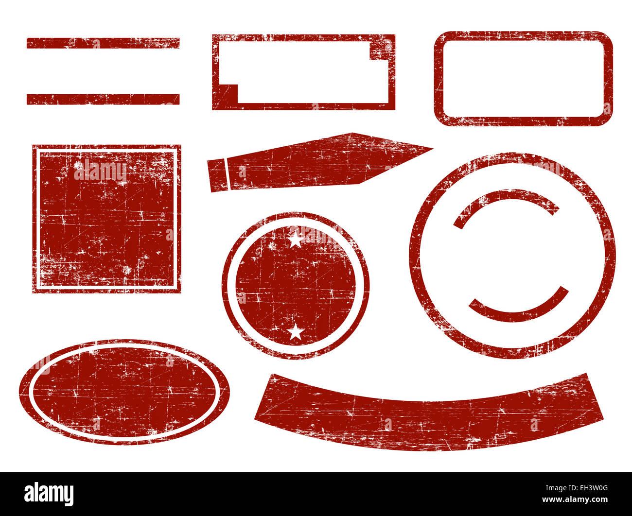 Set di rosso bianco stile grunge scudetti e timbri Immagini Stock