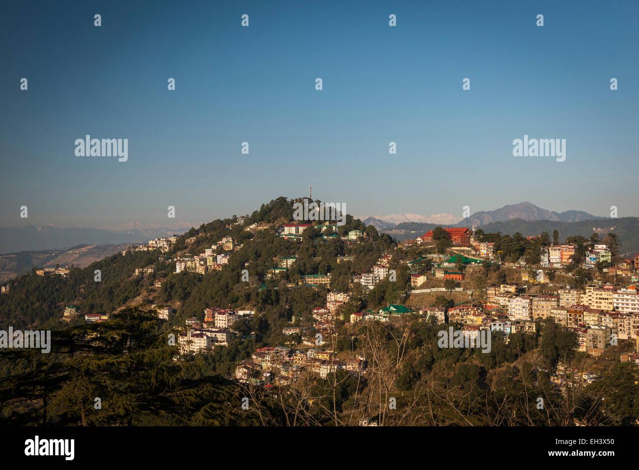 Vista dalla cresta, Shimla, Himachal Pradesh, India Foto Stock