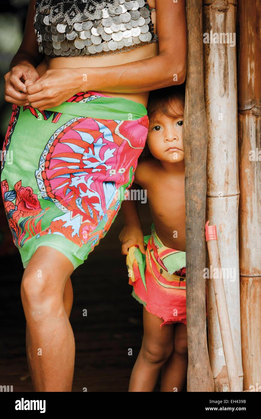 Panama, provincia di Darien, Parco Nazionale del Darién, classificato come patrimonio mondiale dall UNESCO, Embera Foto Stock