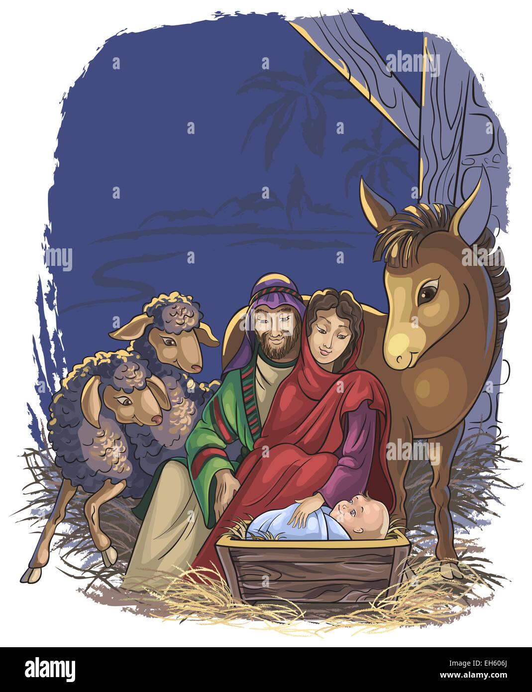 Presepe con sacra famiglia. la bibbia storia della nascita di gesù