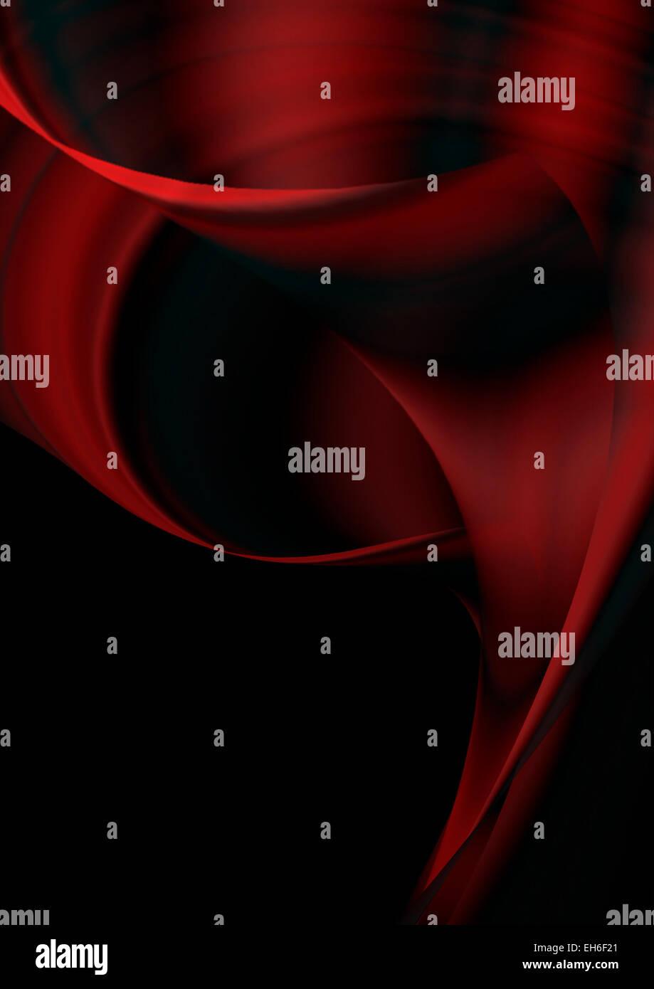 Rosso brillante ritorto forme curve su sfondo nero Immagini Stock