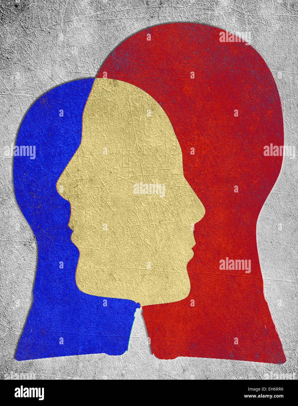 Due testa colorate silhouette concetto di psicologia Immagini Stock