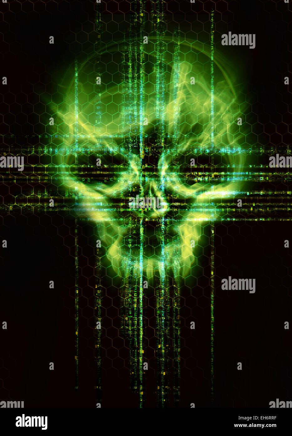 Sfondo Digitale Con Teschio Verde Attacco Hacker Concept Foto