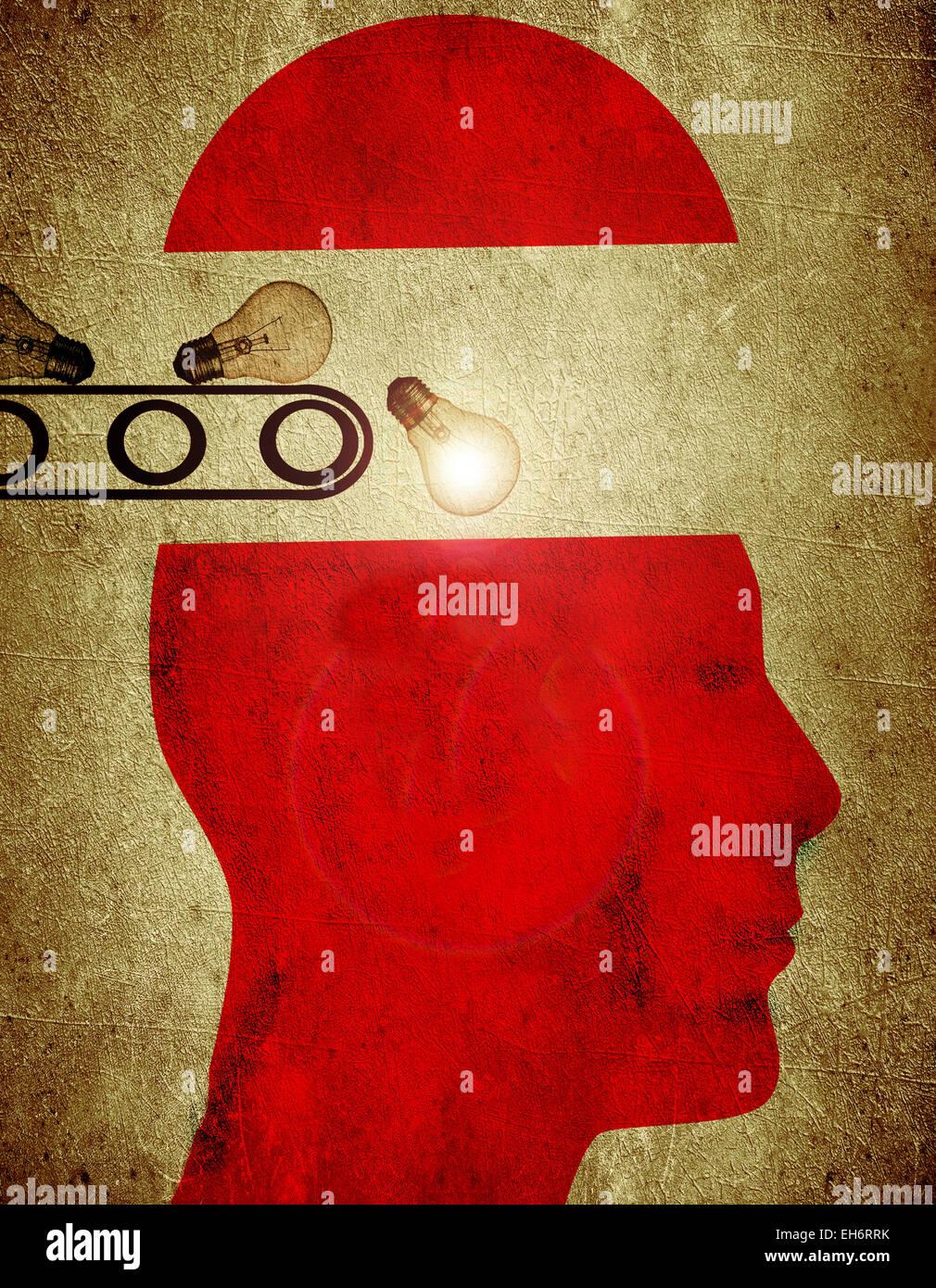 Silhouette rosso con lampadina creatività concetto di fabbrica illustrazione digitale Immagini Stock