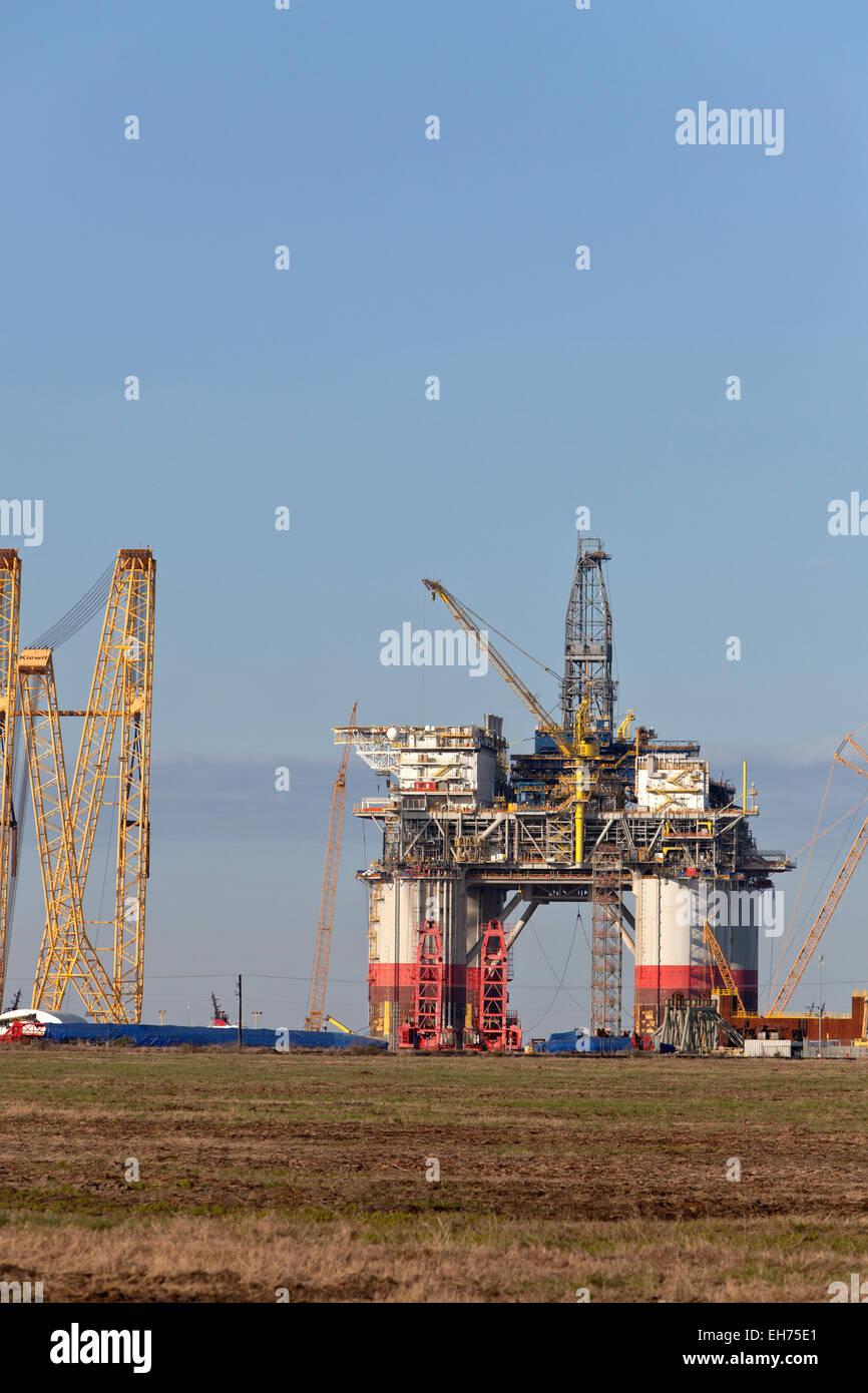 """Costruzione del """"Big Foot' deepwater oil & gas platform in via di completamento. Immagini Stock"""