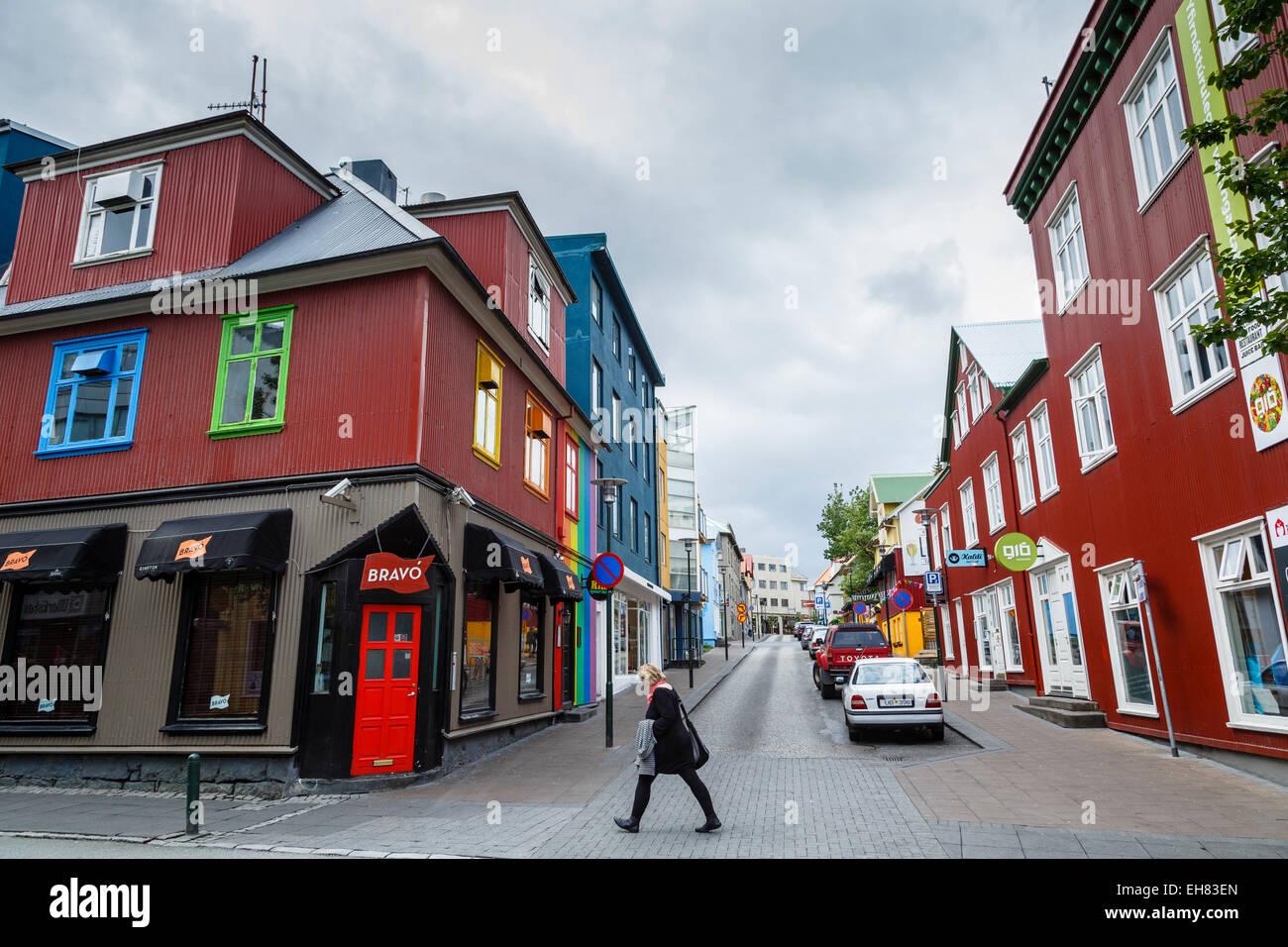 Scena di strada a Reykjavik, Islanda, regioni polari Immagini Stock