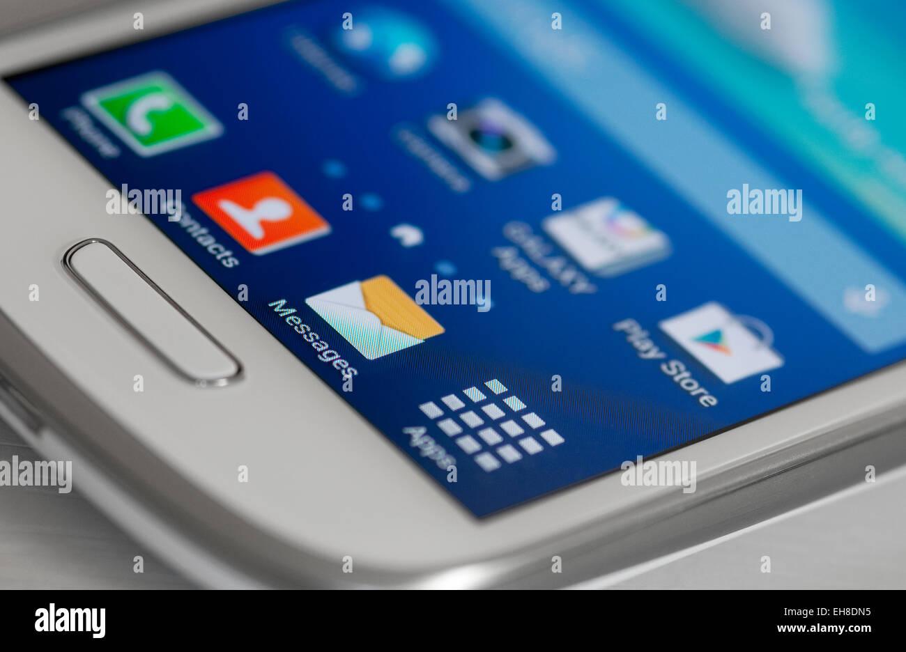 Icone sul telefono cellulare android schermo Immagini Stock