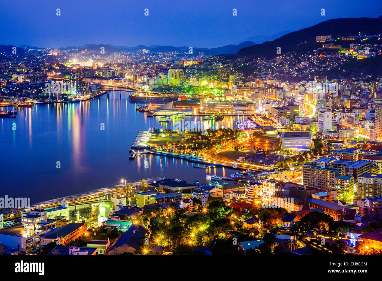 Nagasaki, Giappone cityscape presso la baia. Immagini Stock