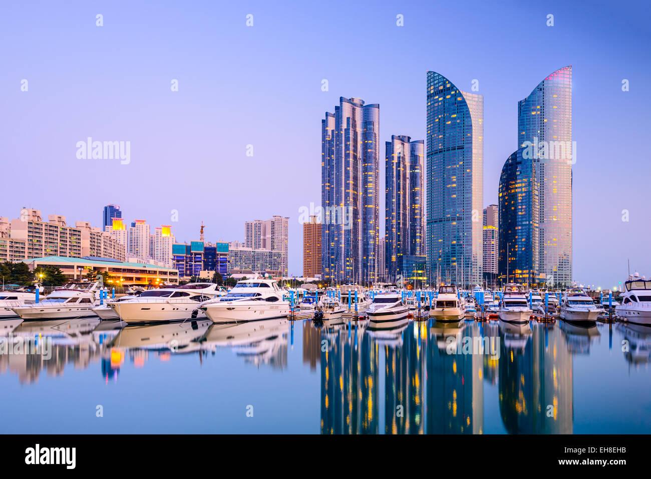 Busan, Corea del Sud paesaggio urbano di Haeundae. Immagini Stock