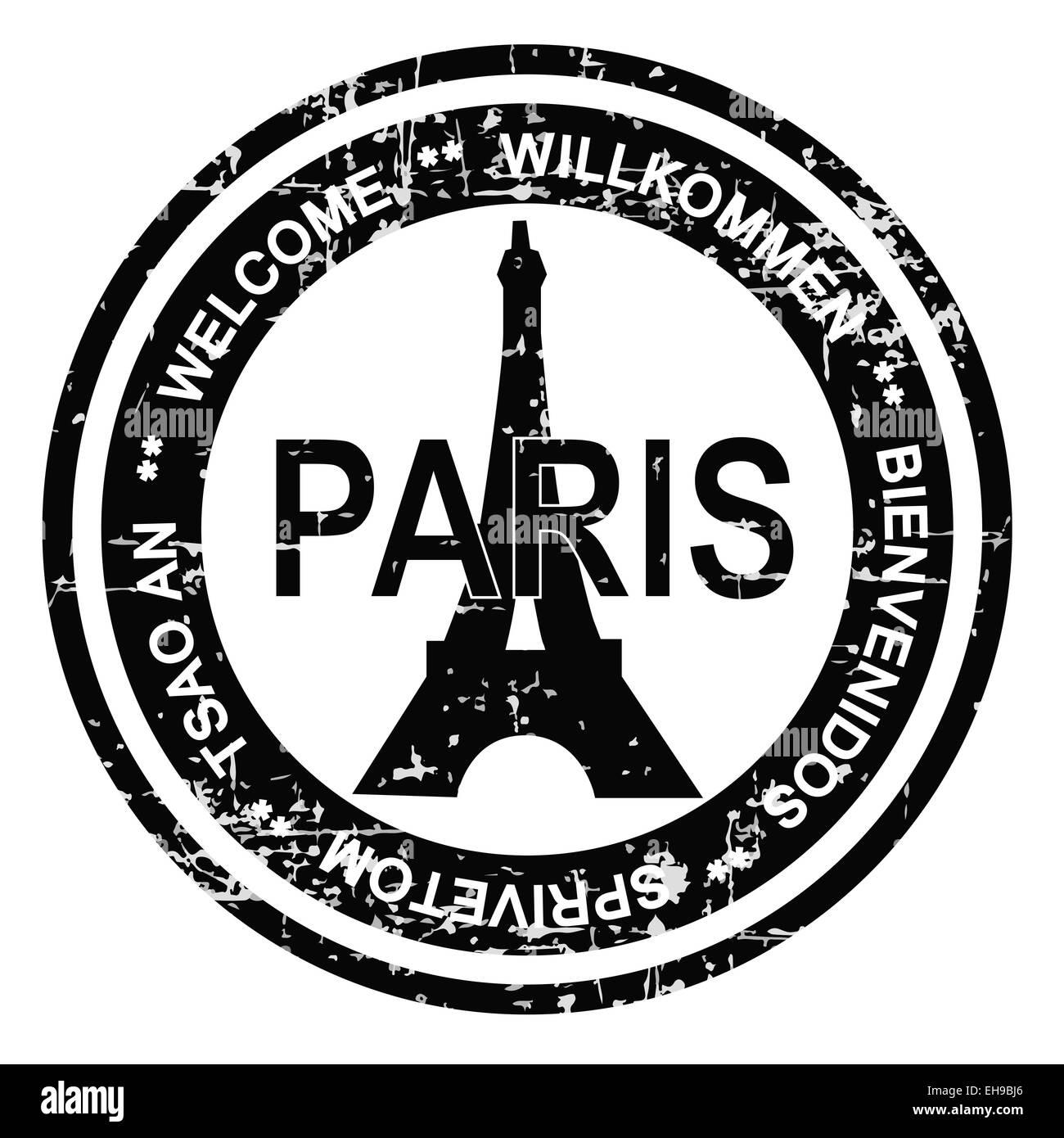 Parigi stile grunge timbro di inchiostro Immagini Stock