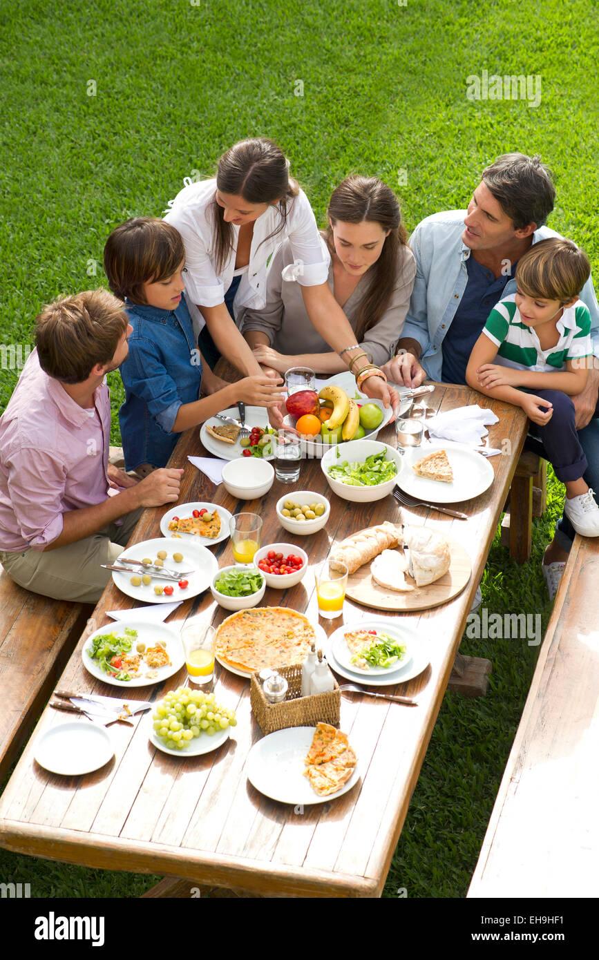 La famiglia e gli amici si riuniscono per il picnic di vacanza Immagini Stock