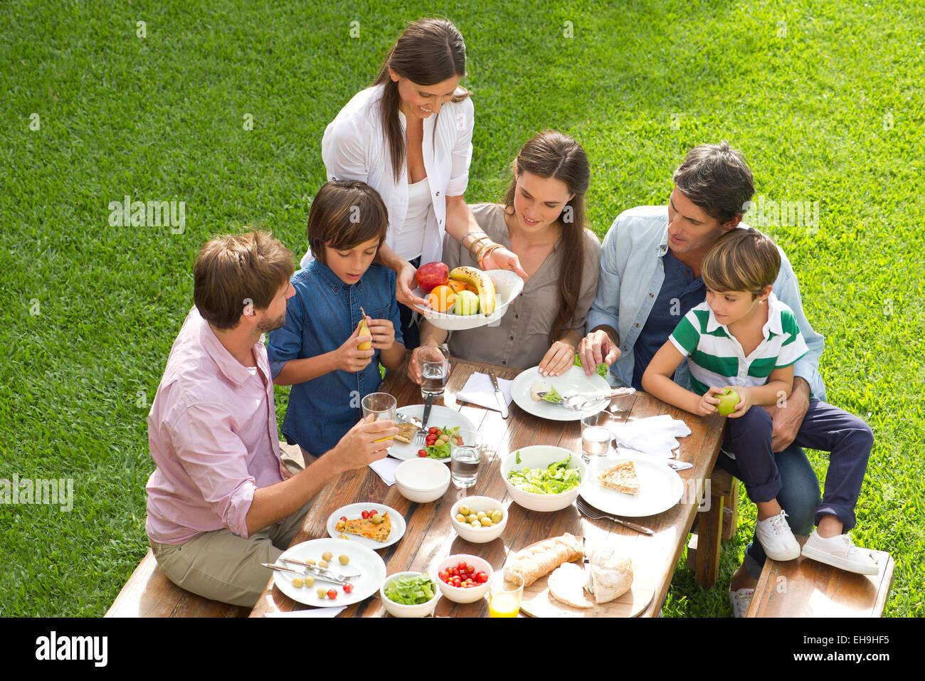 Famiglia e amici si incontrano per picnic Immagini Stock
