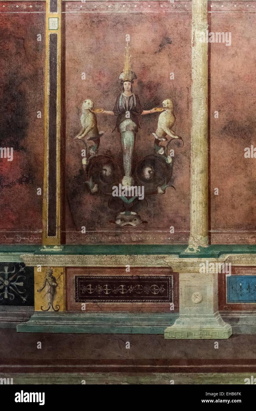 Roma. L'Italia. Affresco di Villa della Farnesina. Palazzo Massimo alle Terme e Museo Nazionale Romano. Cubicolo Immagini Stock