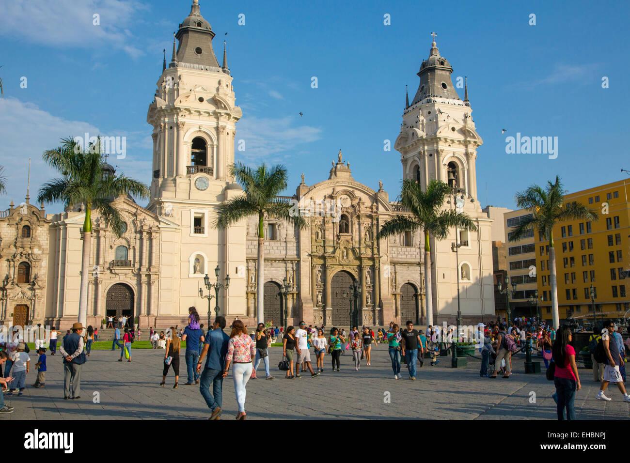 Plaza Mayor, Plaza de Armas, Cattedrale di Lima, Ciudad de los Reyes, il centro storico della città, Lima, Immagini Stock