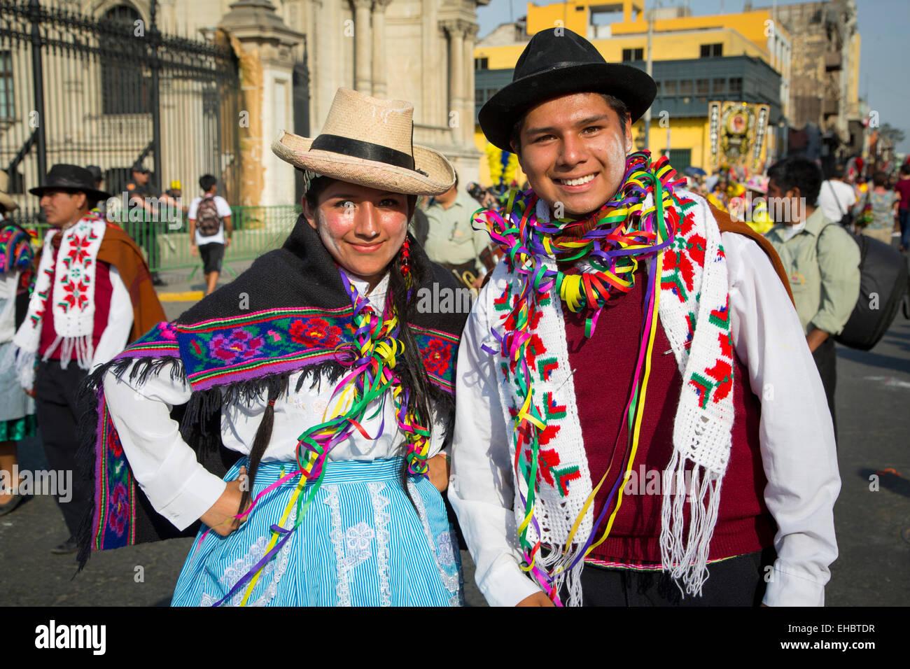 Il carnevale, Mardi Gras, Ciudad de los Reyes, il centro storico della città, Lima, Peru Immagini Stock