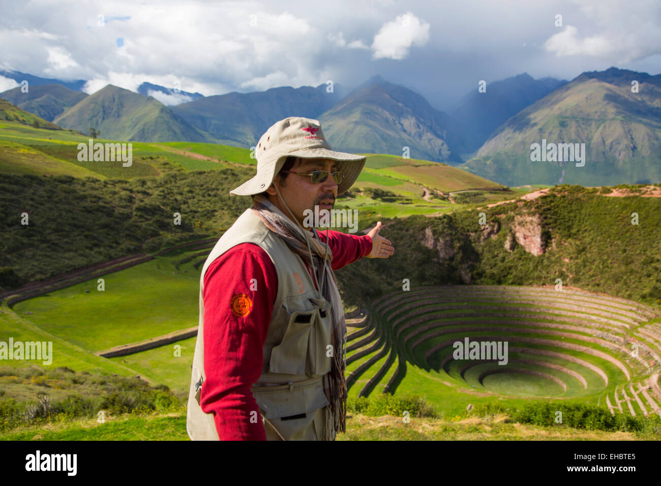 Circolare terrazze Inca di Moray, Cusco Regione, Provincia di Urubamba, Machupicchu distretto, Perù Immagini Stock