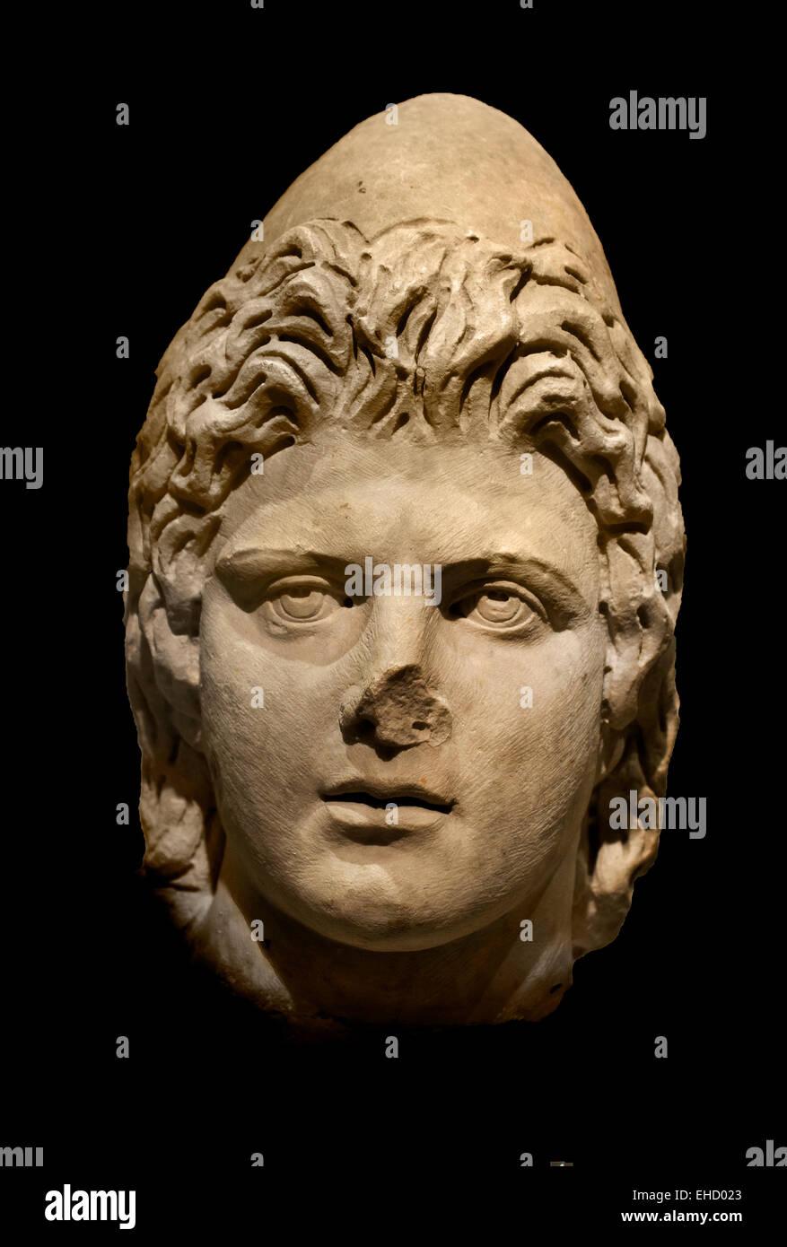 Testa di ricino o Pollux. Ii secolo D.C. Roman Roma ( Nella mitologia greca e romana, Castore e Polluce o Polydeuces Foto Stock