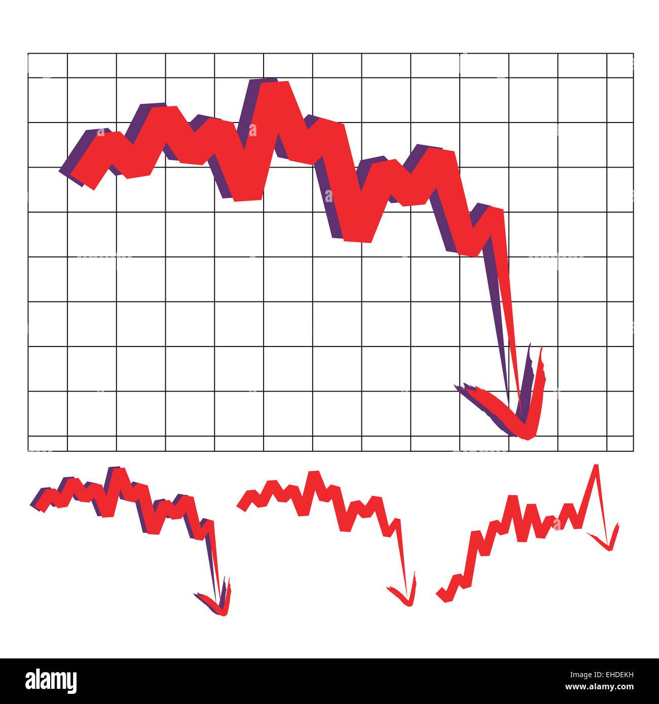 Verso il basso indice di borsa Immagini Stock