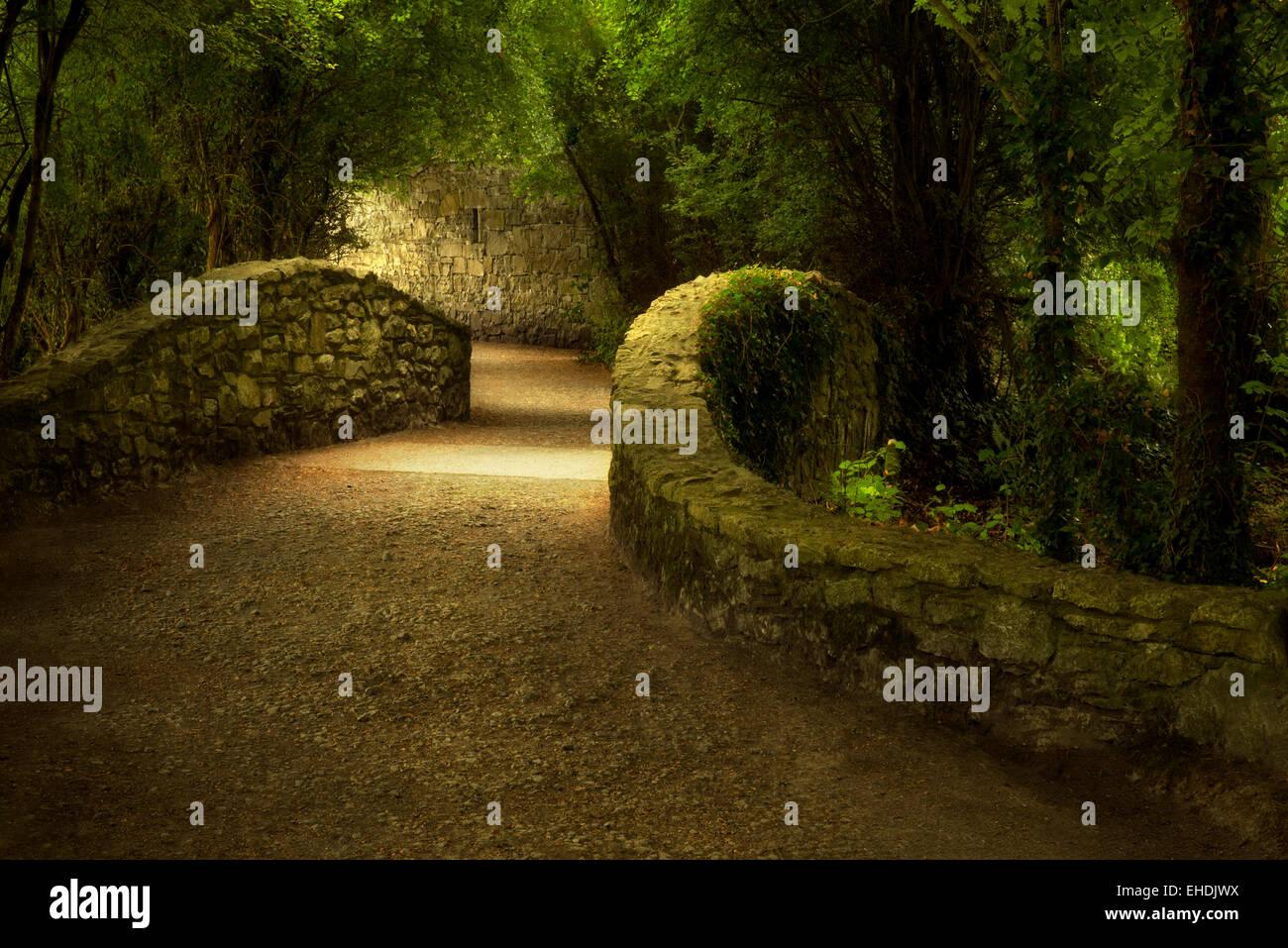 La passerella oltre il ponte. Il Castello di Bunratty, Irlanda Immagini Stock