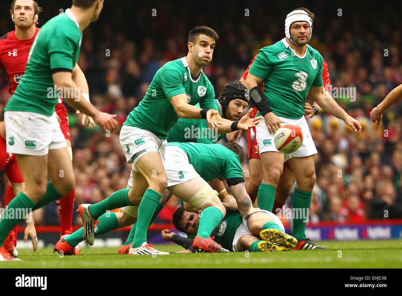 Cardiff, Galles. Xiv Mar, 2015. 6 Nazioni Rubgy Internazionale Campionato. Il Galles contro l'Irlanda. Conor Immagini Stock