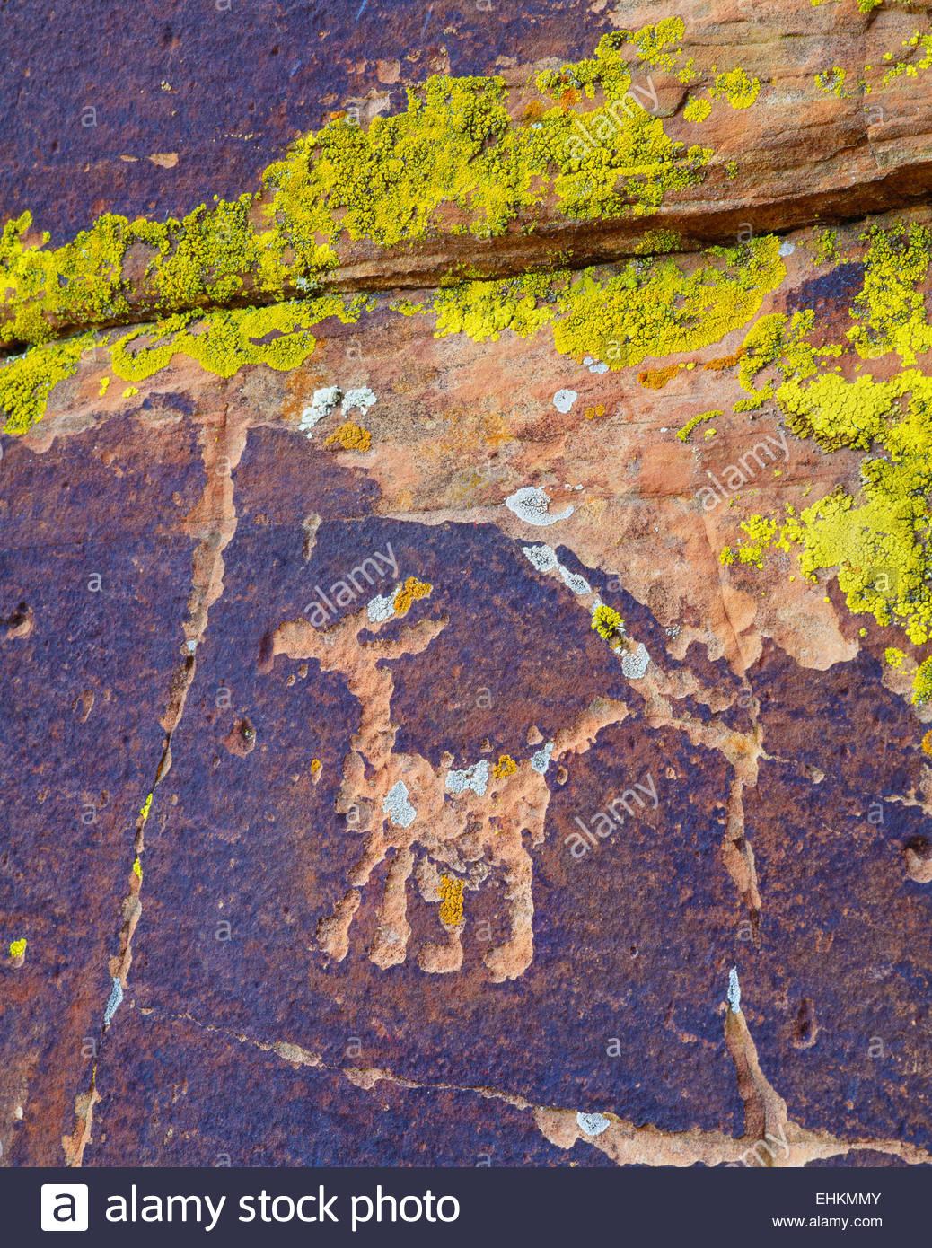 Cultura Sinagua petroglyph, nei pressi di Montezuma. Coconino National Forest, Arizona. Immagini Stock