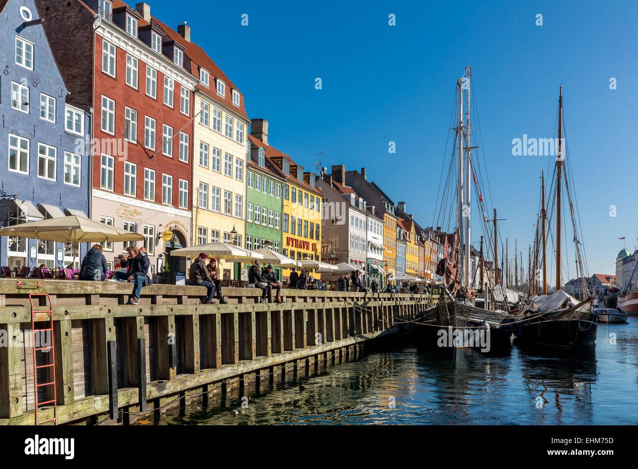 Nyhavn Canal, Nyhavn, Copenhagen, Danimarca Immagini Stock