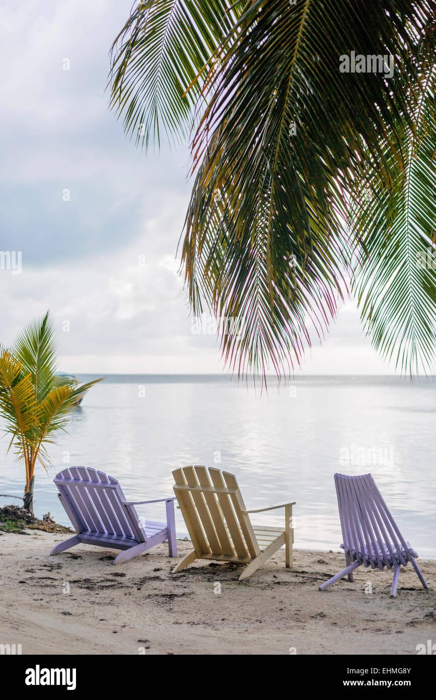 Sedie A Sdraio Da Mare.Sedie A Sdraio Da Spiaggia Il Caye Caulker Foto Immagine Stock