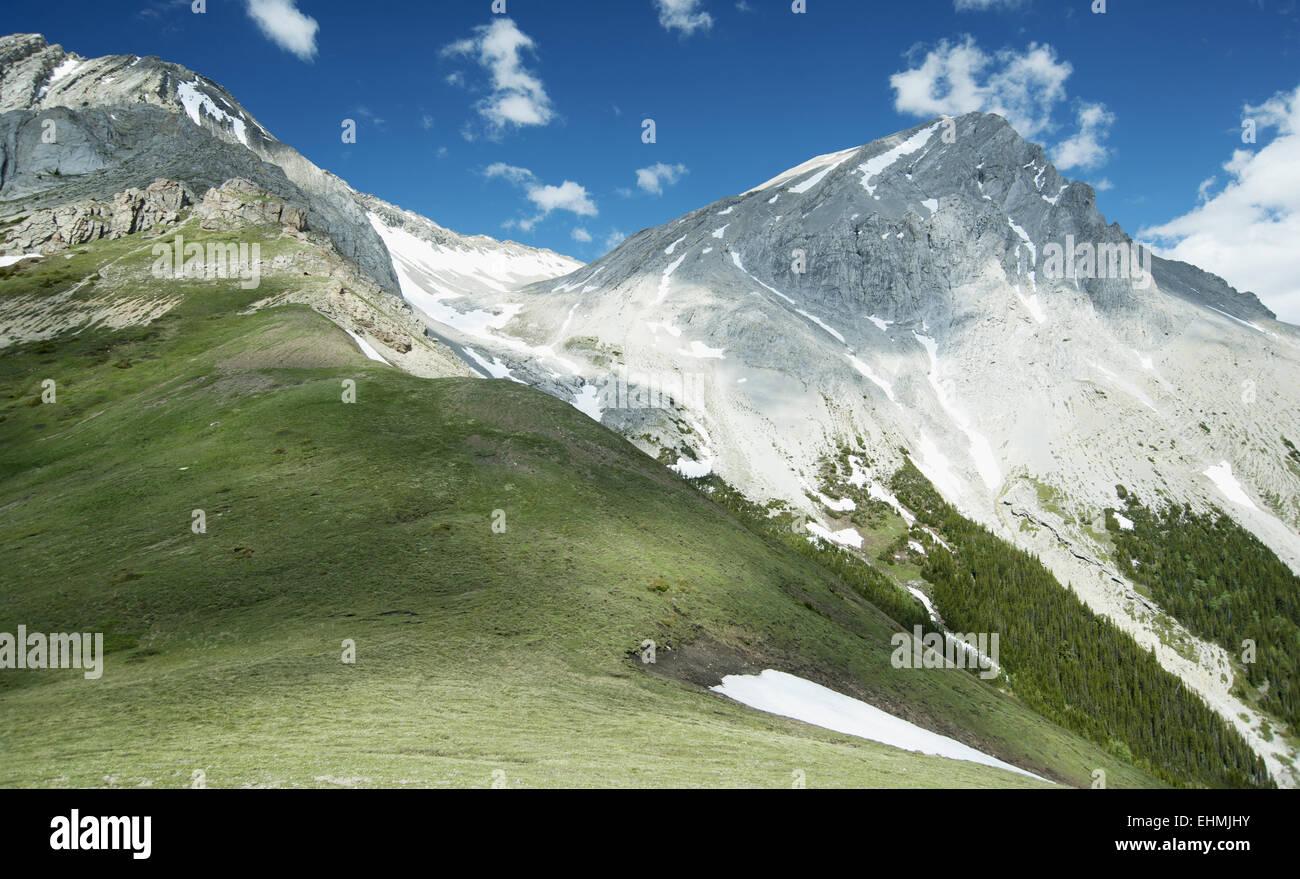 Picchi di montagna con la neve e di erba sotto il cielo blu Immagini Stock