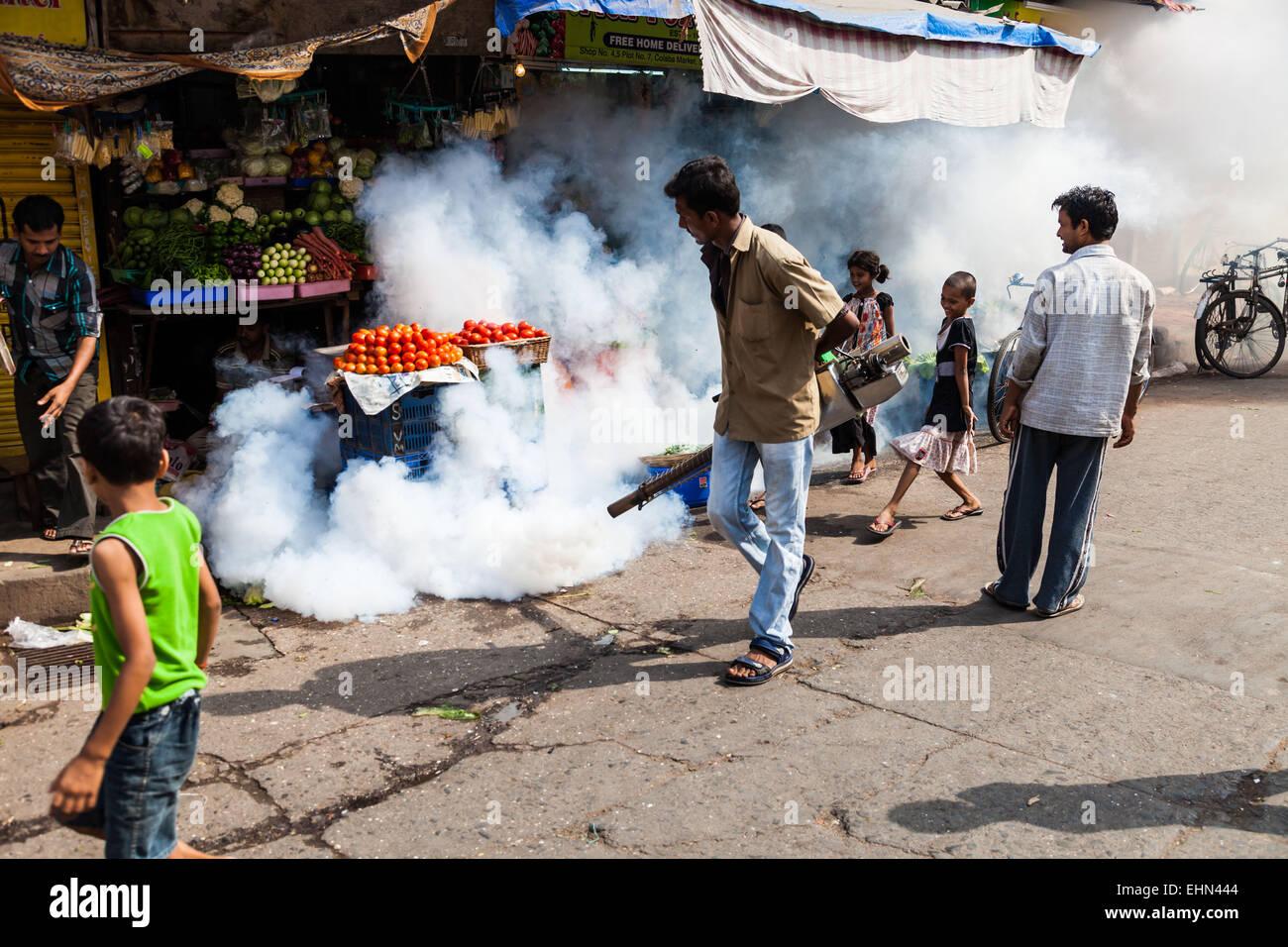 La fumigazione nelle strade di Bombay ( Mumbay ), India. Immagini Stock