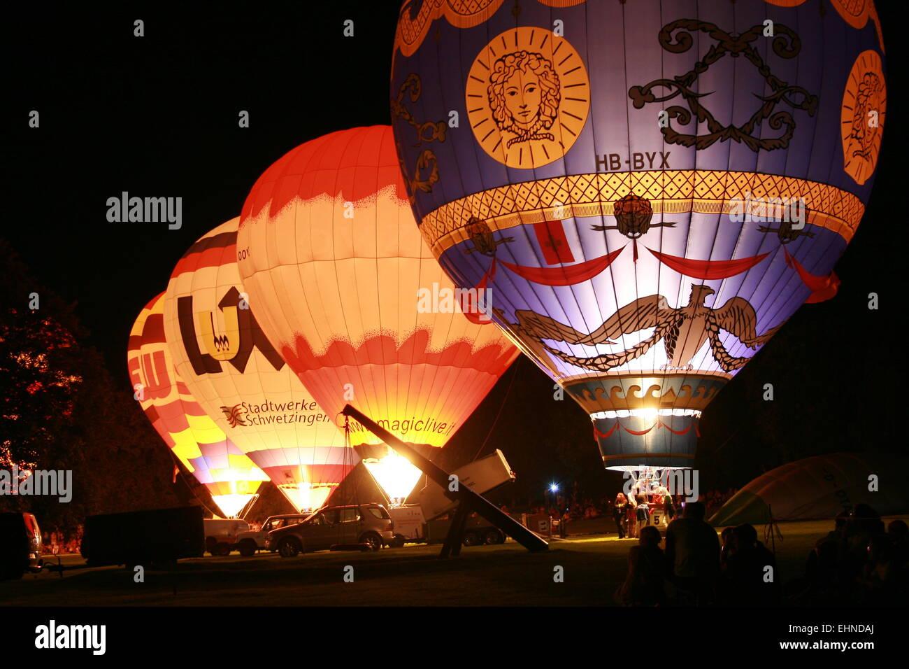 Ballon guidare di notte Immagini Stock